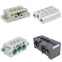 ASCO series 355 joinable and single subbases for spool valves has a mounting principal of a plug set: this device allows joinable subbases to be supplied with 2 different inlets.